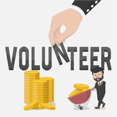 volunteers: one businessman is collecting coin for volunteers business illustration concept