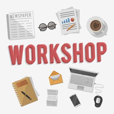 glasess: Work Shop Equipment business illustration concept