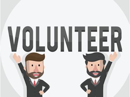 entrepreneurs: two entrepreneurs want to Volunteer business illustration concept