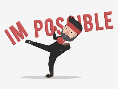a businessman kicked impossible business illustration concept Illustration