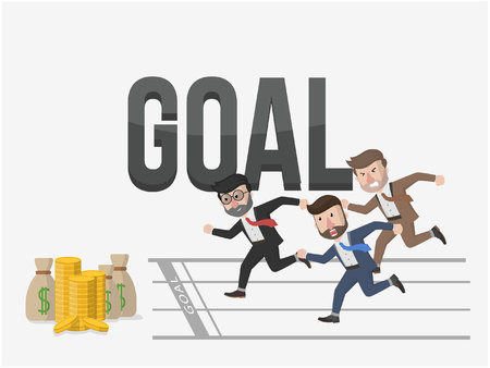 towards: all businessman towards goal