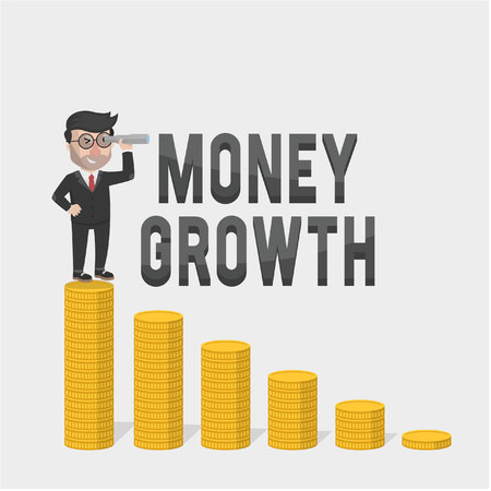 growth: businessman looking money growth