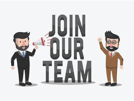 join our team: businessman broadcast to join our team