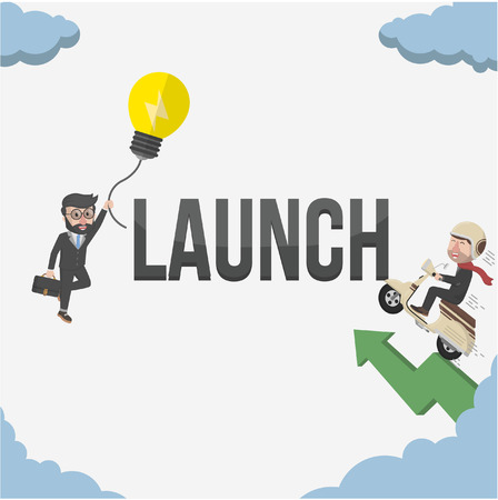 launch: two business launch Illustration