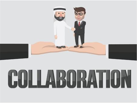 entrepreneurs: businessmen and entrepreneurs arab collaboration illustration design