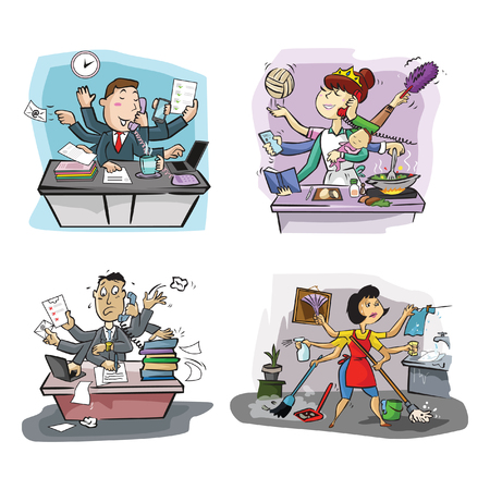 clean office: busy people illustration design collection
