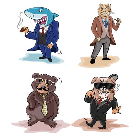 anthropomorphism: animal business illustration design collection