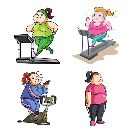 fat woman sport illustration design collection