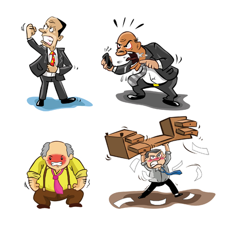 angry businessman: angry businessman illustration design collection