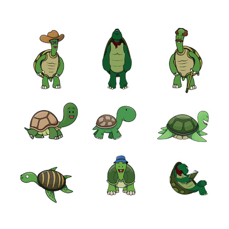 pond life: turtle illustration design collection Illustration