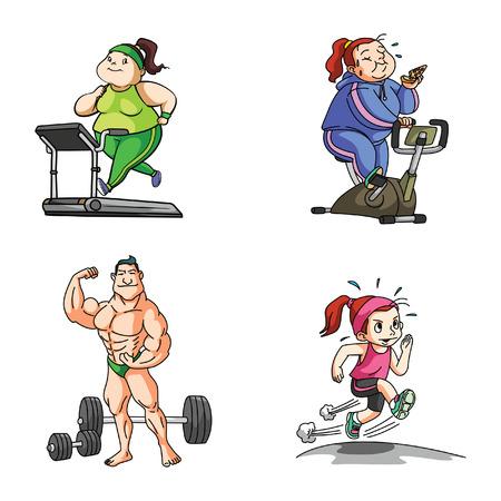 unfit: fat woman sport illustration design collection