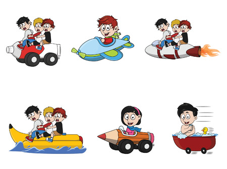 a child was ride illustration design collection