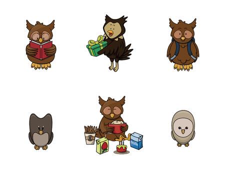 owl illustration: owl animal illustration design collection