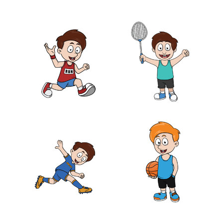 sporty: kid sporty illustration design collection