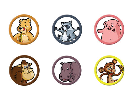 omnivore animal: circle animal omnivore illustration design collection
