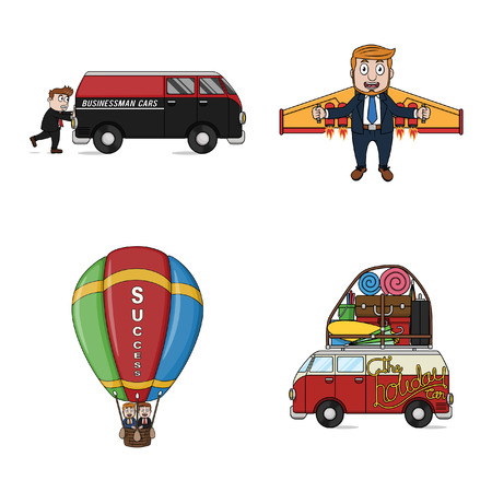 business flying: businessman transportation illustration design collection