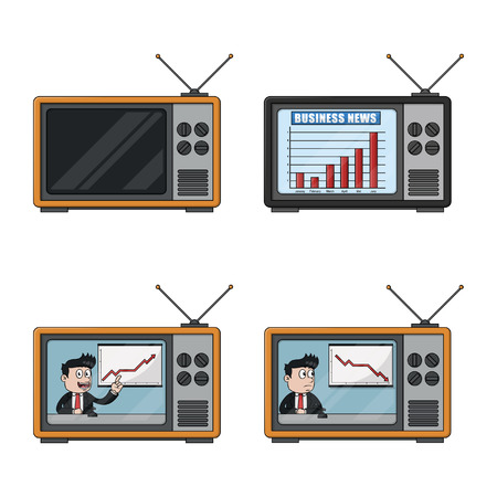newscaster: businessman tv illustration design collection