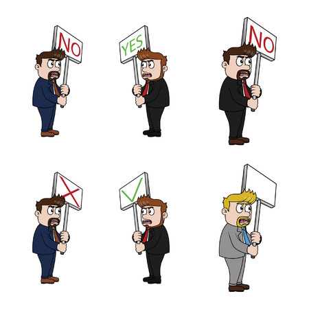 businessman with sign illustration design collection