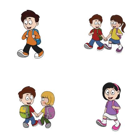 niños saliendo de la escuela: niño ir a la colección de ilustración de diseño de la escuela