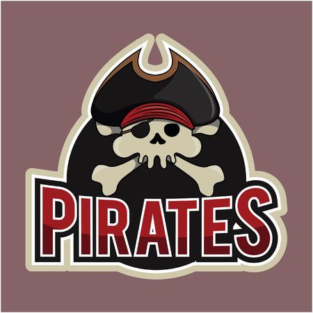 skull and crossed bones: pirates illustration design full colour