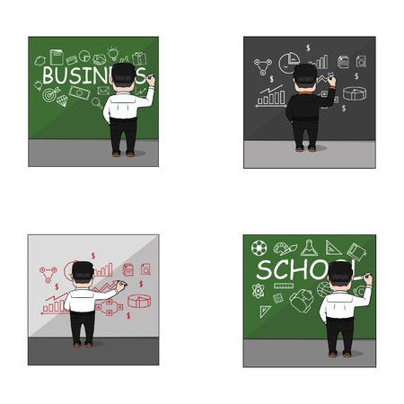 writting: businessman writting on the wall