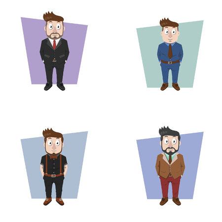 looking straight: businessman standing illustration design collection Illustration