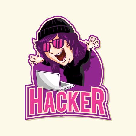 hacker illustration design full colour Ilustracja