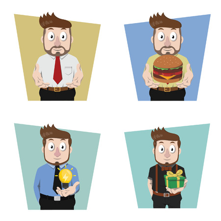 give: businessman give a hand illustration design collection