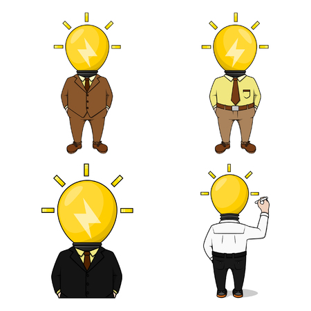 head lamp businessman illustration design collection