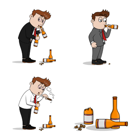 alcoholic: drunk businessman illustration design collection Illustration