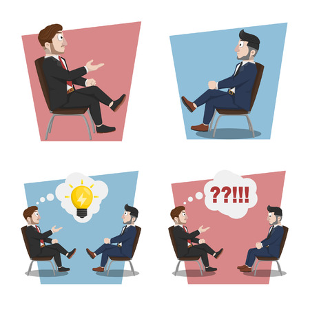 flat businessman sitting illustration design collection Ilustração