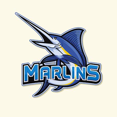 pez vela: marlín, ilustración, diseño Vectores