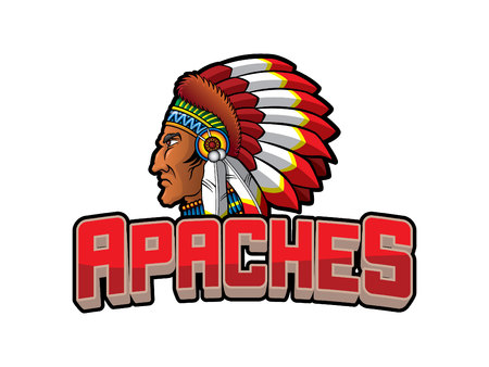 apaches banner illustration design colorful