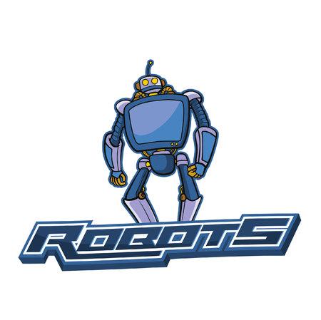 robots blue banner illustration design colorful Illustration