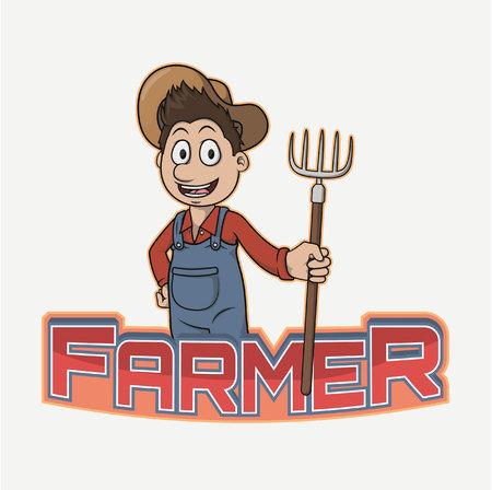 agrarian: farmer banner illustration design colorful