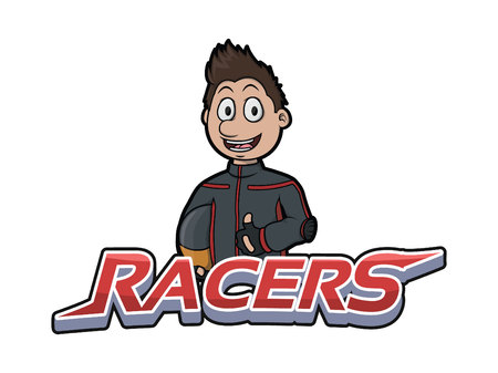 fast car: racers banner illustration design colorful Illustration