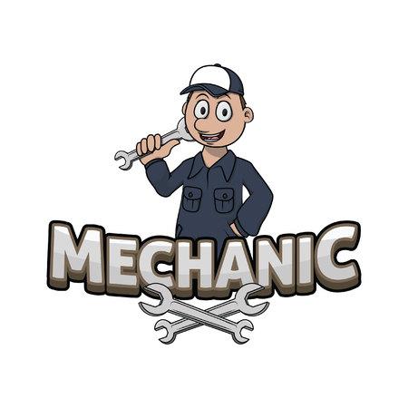 mechanic banner illustration design colorful