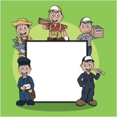 blue collar: blue collar worker sign illustration design Illustration
