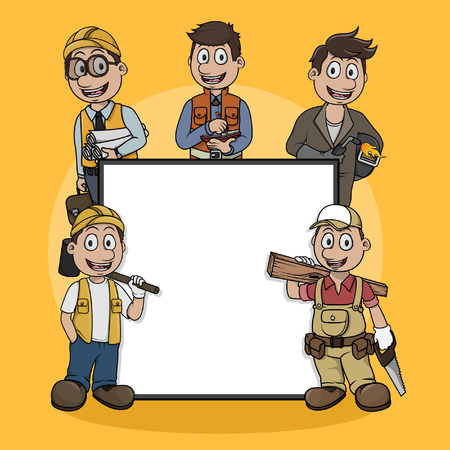 arquitecto caricatura: construcción profesión ilustración de la muestra de diseño