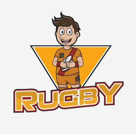 rugby illustration design colorful