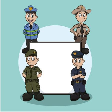 officer profession sign illustration design