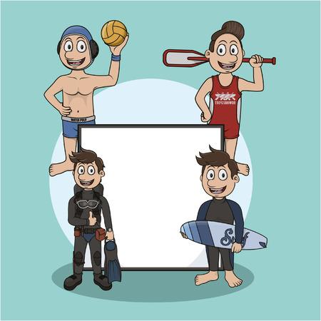 water sport sign illustration design Illustration