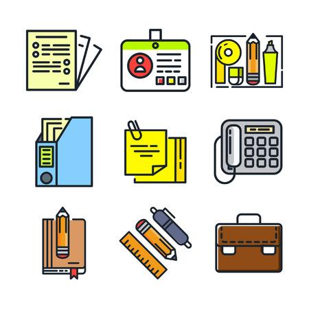 stuff: office stuff icon set color Illustration