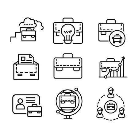 case: suit case icon set