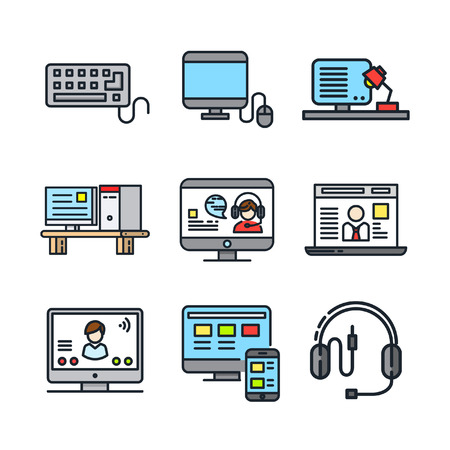 caller: computer and accessories icon set color