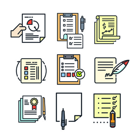paperwork: paperwork icon set color