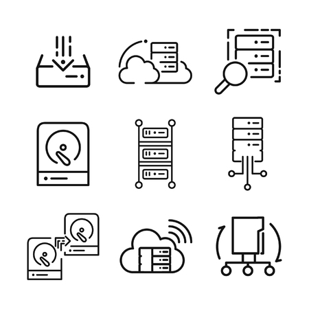 hard drive: server icon set vector illustration design
