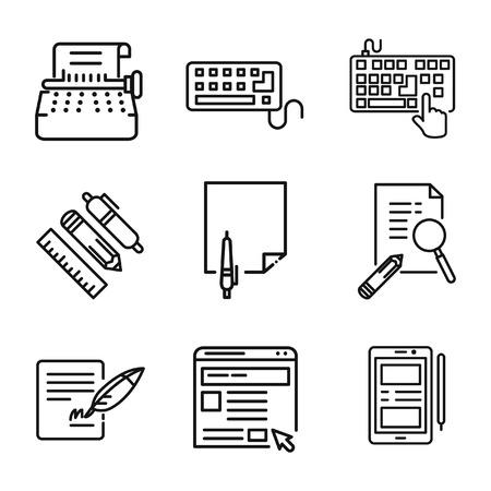 blog icon: writing media icon set