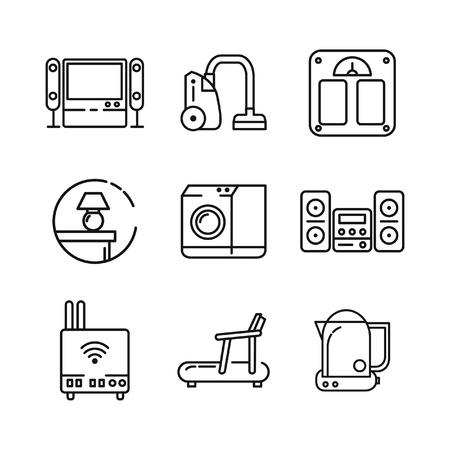 fridge lamp: home appliances icon set