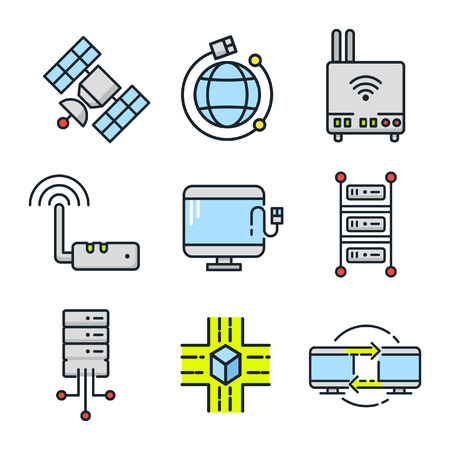 device: networking device icon set color